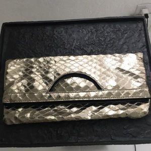 Handbags - CLUTCH w METALLIC GOLD FINISH TRIANGLE PATTERN.